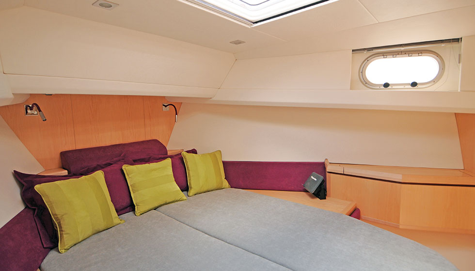 A superbly comfortable owner's berth, in a light and well ventilated cabin