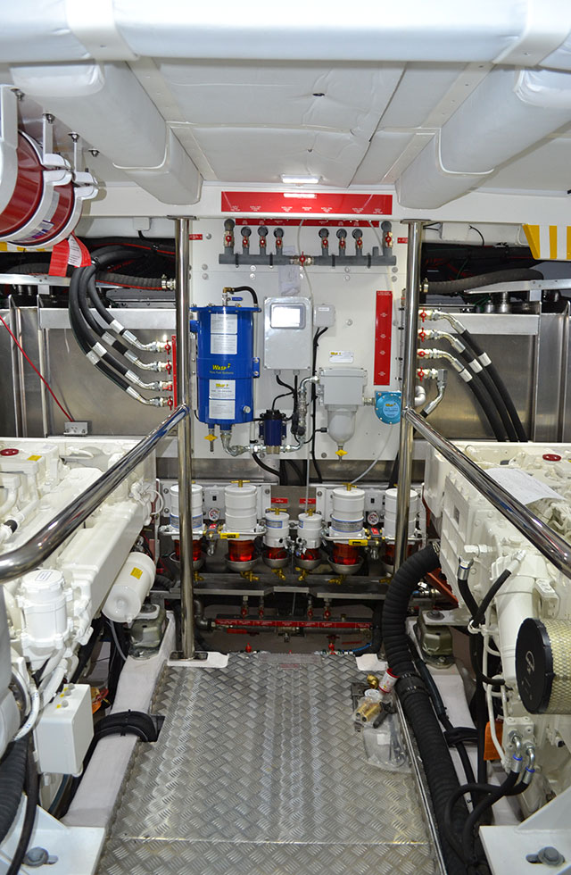Superbly fitted engine room with generous headroom