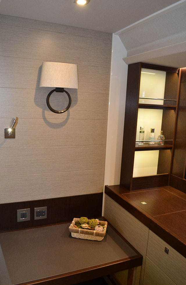 A detail shot from her midships owner's cabin showing Alpi and wenge joinery